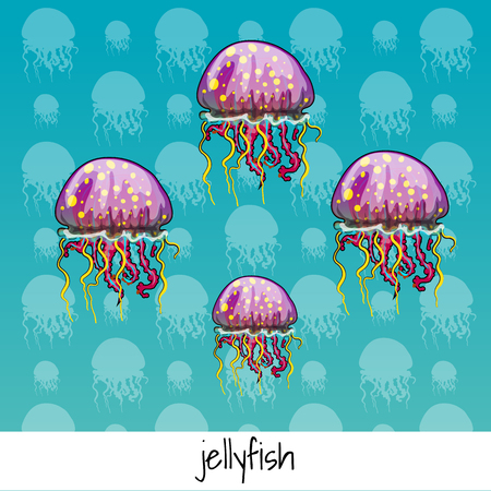 phosphorescence: Set of color spotted jellyfish with labeled on a celadon background
