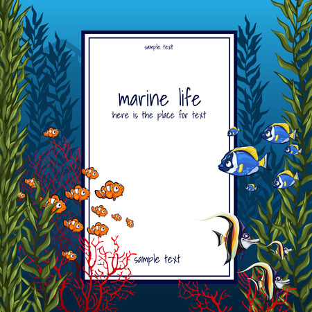 The marine life in bright colors and vertical card 矢量图像