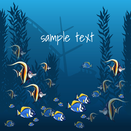 sea grass: The marine life in bright colors and sample text