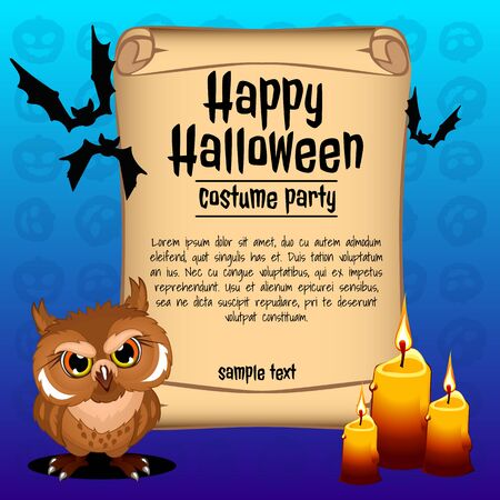 wicked: Wicked owl with three candles, banner happy Halloween Illustration