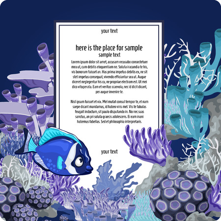 Corals and blue fish with vertical card for text