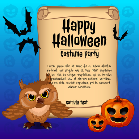 wicked: Banner happy Halloween and wicked owl with two pumpkins Illustration