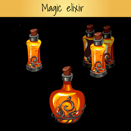 A set of vintage magic elixirs