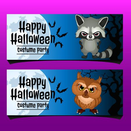 two animals: Two horizontal card for happy Halloween with evil animals, invitation card