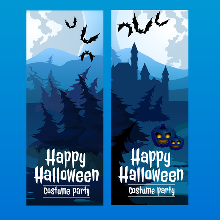 spooky forest: Two vertical blue cards with the spooky forest