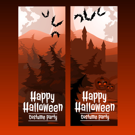 spooky forest: Two vertical cards with the spooky forest Illustration