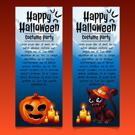 carved letters: Two vertical happy Halloween cards with cat and pumpkin Illustration