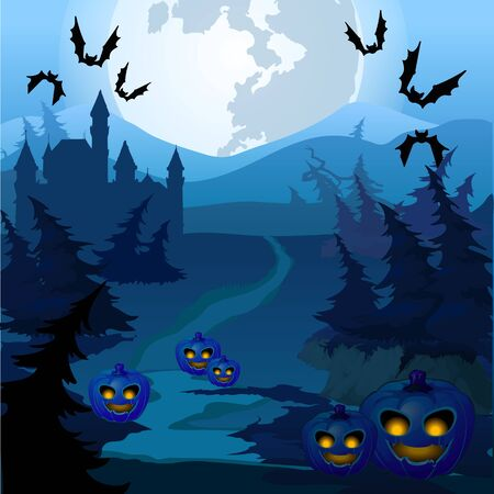 spooky forest: The trail through spooky forest with pumpkins Illustration