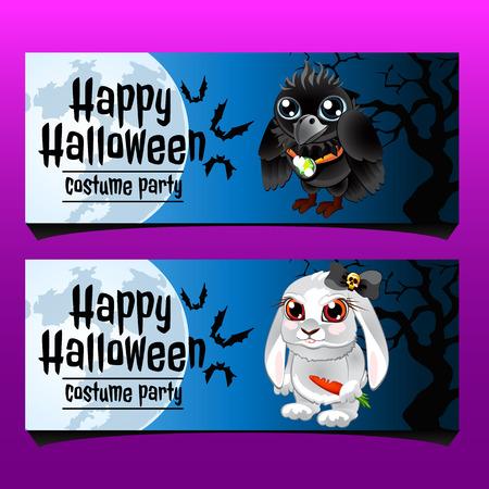cuervo: Dos tarjetas horizontales feliz Halloween con el conejo y el cuervo