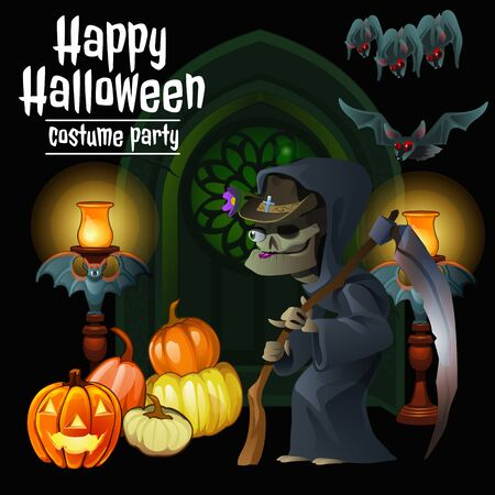 harridan: Witch party costumes for happy Halloween, invitation for Halloween Illustration