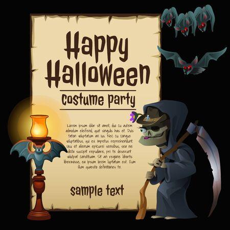 bruja: Trajes de fiesta de la bruja para Halloween, tarjeta de feliz con texto de ejemplo Vectores
