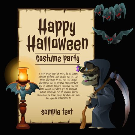 hag: Witch party costumes for happy Halloween, card with sample text Illustration