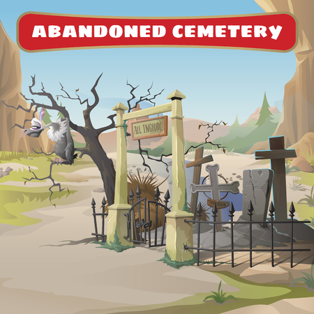 wasteland: Vulture and an abandoned cemetery Illustration