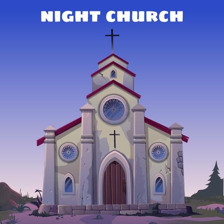 iglesia: La antigua iglesia de cerca en el Salvaje Oeste en la noche Vectores