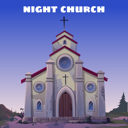 The old Church closeup in the Wild West at night Illustration