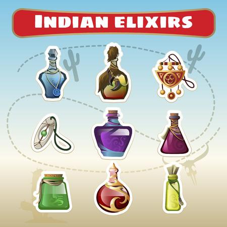 De Indiase set van elixers Vector Illustratie