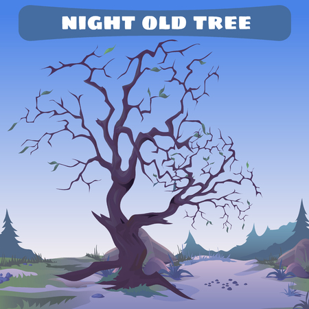 lonely: Old dead tree at night Illustration