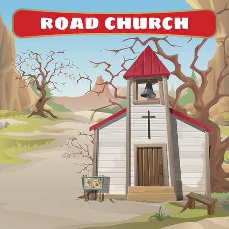western wall: Old roadside Church in the wild West Illustration