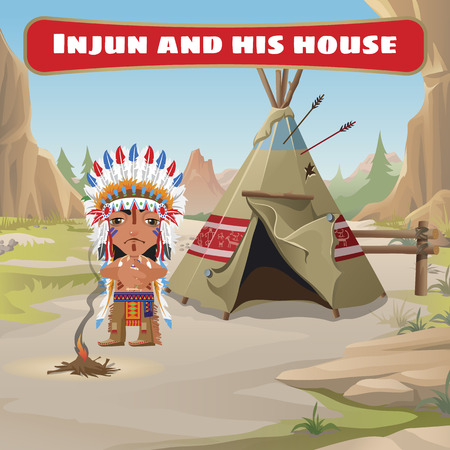 tepee: The leader of the Indians with a tepee