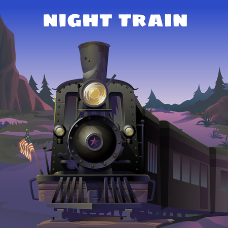 bygone: Old locomotive with American flag