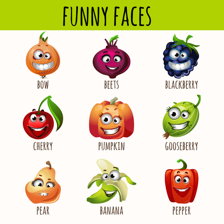 fruitage: Set of expressive fruits, berries and vegetables