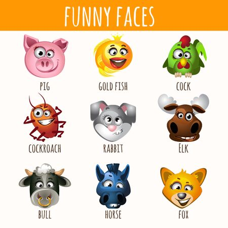 cow teeth: Animal funny faces, set of nine character Illustration