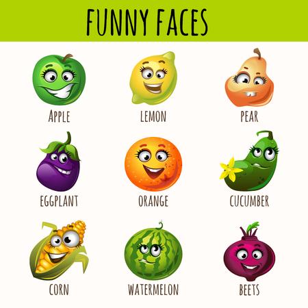 fruitage: Set of expressive fruits and vegetables