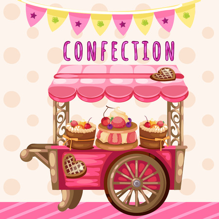 sweet pastries: Truck with sweets, holiday decoration on a pink background Illustration