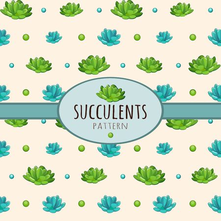 window sill: Succulents pattern, background with oval frame for text