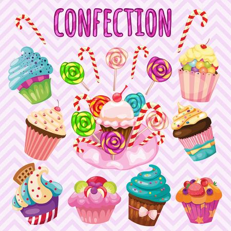 jellybean: Sweet blast set, candy, cakes, lollipops Illustration