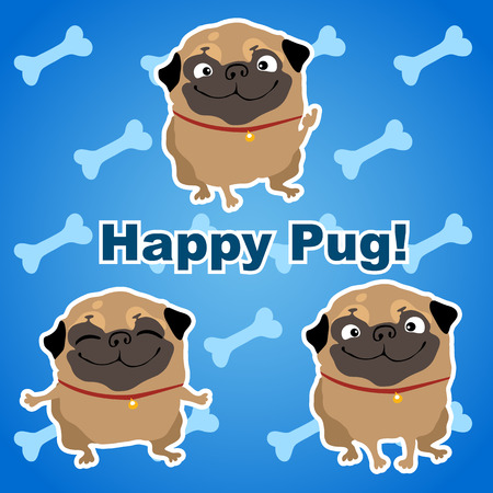 pus: Three happy pus dogs on a blue background with bones Illustration