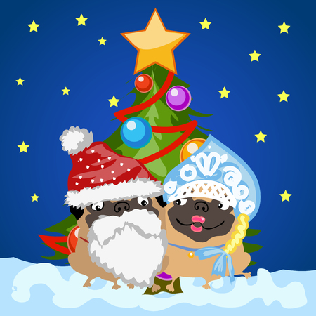 snow maiden: Two dogs - Santa Claus and snow maiden on the background of Christmas tree