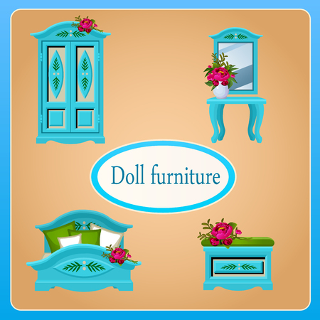 four objects: Blue doll furniture, set of four objects