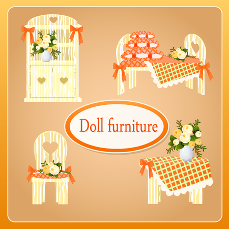 four objects: Beige doll furniture, set of four objects