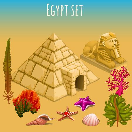El misterioso Egipto, pirámide, esfinge, y el mundo submarino Ilustración de vector