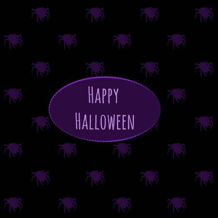 fire surround: Card happy Halloween on a dark background with spiders Illustration