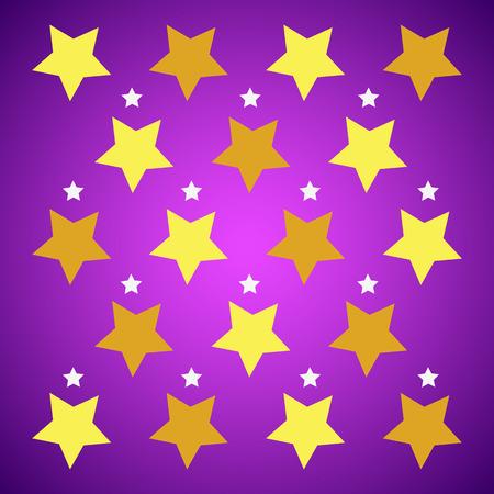 starfall: Yellow shiny stars on purple background Illustration