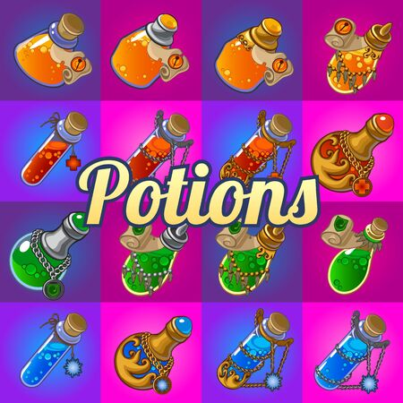 apothecary: Big set of different magic bottles with potion