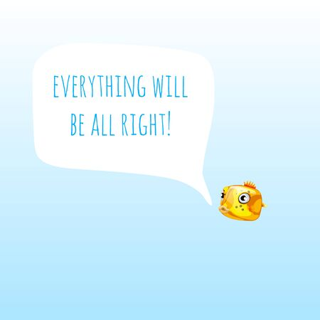 all right: Card with single fish and it text of wish in the form of comics Illustration