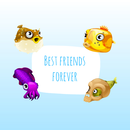 four friends: Four best friends fish with frame for text