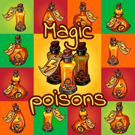 Big set of different magic poisons