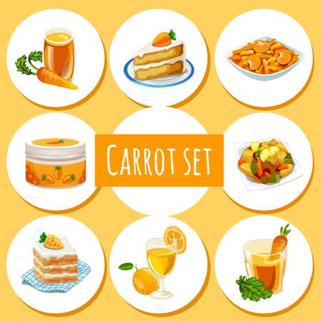 dishes: Carrot set, eight icons of dishes and drinks