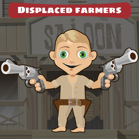 american stories: Fictional cartoon character -  displaced farmers