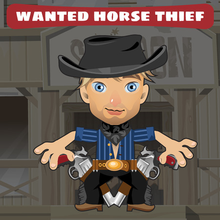 american stories: Cartoon character in Wild West - horse thief