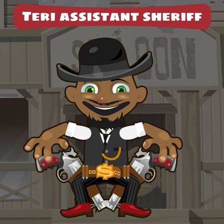 Cartoon character in Wild West - sheriff assistant