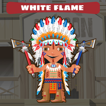 american stories: Cartoon character in Wild West - white flame Illustration