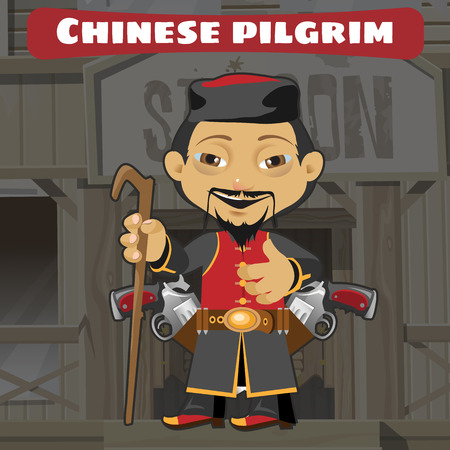 pilgrim costume: Fictional cartoon character - chinese pilgrim Illustration