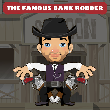 american stories: Cartoon character in Wild West - bank robber