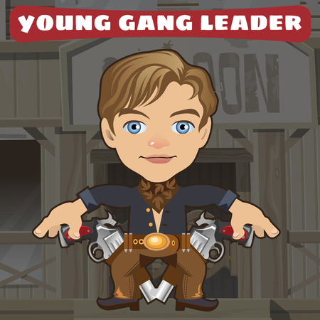 american stories: Cartoon character in Wild West - young gang leader