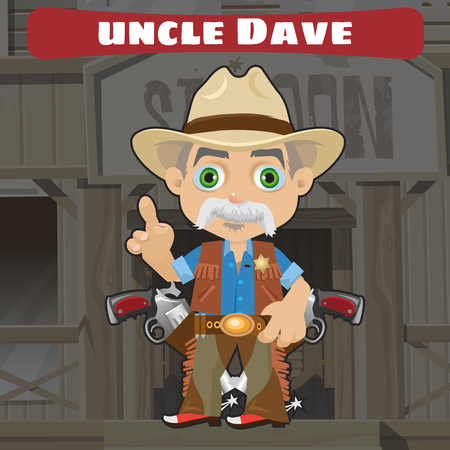 american stories: Cartoon character in Wild West - Wise uncle
